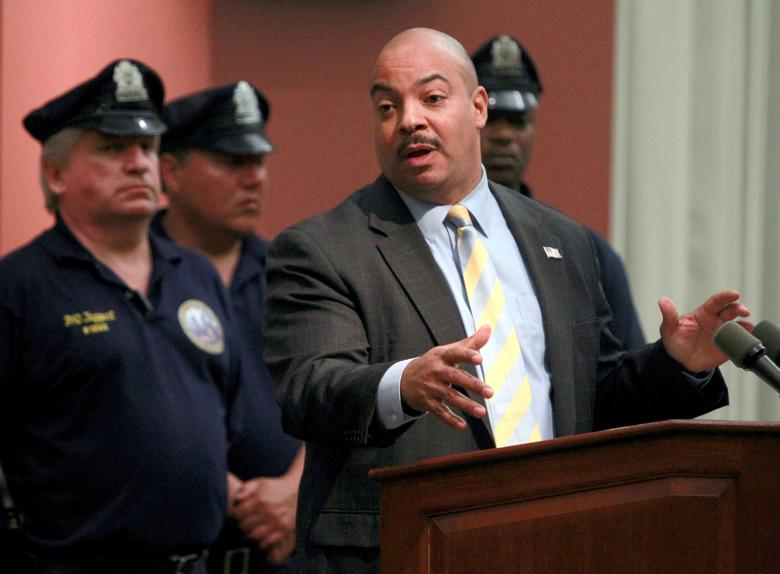 FILE PHOTO: Philadelphia District Attorney R. Seth Williams speaks during a news conference at the district attorneys office in Philadelphia, Pennsylvania, May 15, 2013.  REUTERS/Tim Shaffer/File Photo