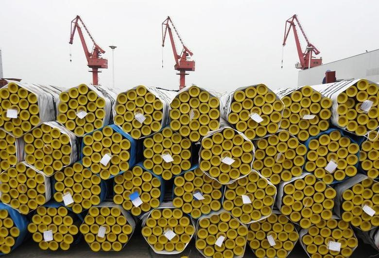 Steel pipes are seen before being loaded for export at Lianyungang port, Jiangsu province, China, May 8, 2017. Picture taken May 8, 2017. REUTERS/Stringer