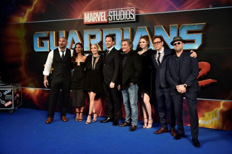 Cast members (L-R) Dave Bautista, Zoe Saldana, Pom Klementieff, Chris Pratt, Kurt Russell, Karen Gillan, director James Gunn and Michael Rooker pose as they attend a premiere of the film ''Guardians of the galaxy, Vol. 2'' in London, Britain, April 24, 2017. REUTERS/Hannah McKay