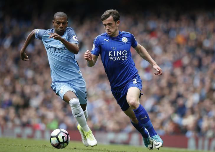 Britain Football Soccer - Manchester City v Leicester City - Premier League - Etihad Stadium - 13/5/17 Leicester City's Ben Chilwell in action with Manchester City's Fernandinho Reuters / Andrew Yates Livepic