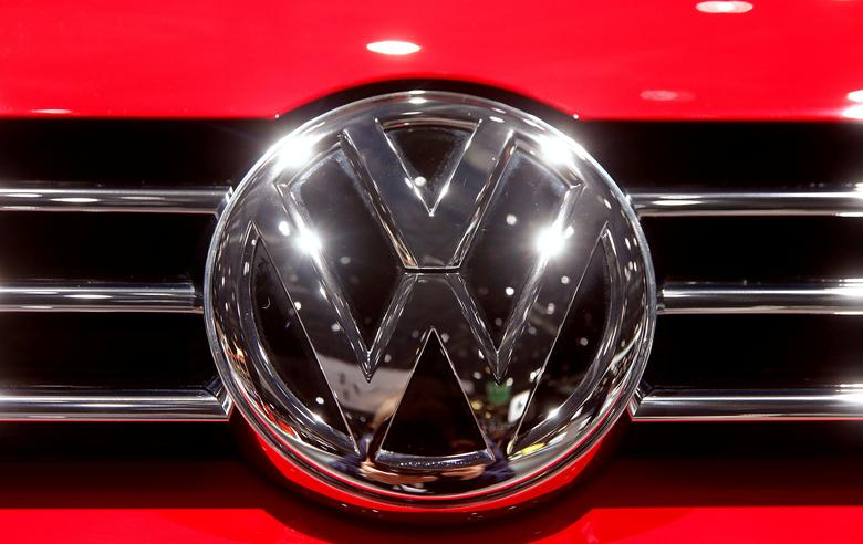 FILE PHOTO: The Volkswagen logo on display at the 87th International Motor Show at Palexpo in Geneva, Switzerland March 8, 2017. REUTERS/Arnd Wiegmann/File Photo