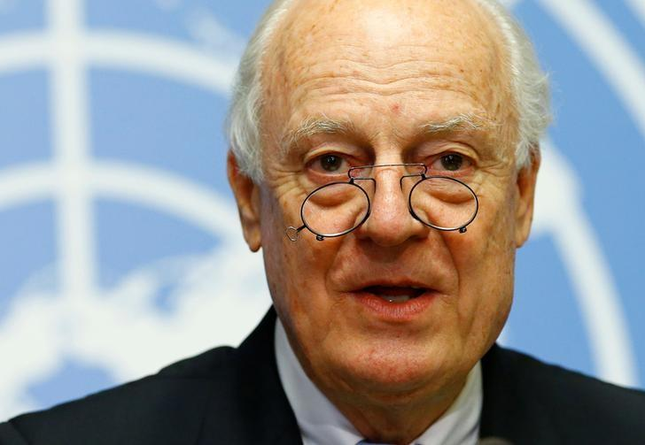 United Nations Special Envoy for Syria Staffan de Mistura attends a news conference ahead of Intra Syria talks at the U.N. in Geneva, Switzerland, May 15, 2017. REUTERS/Denis Balibouse