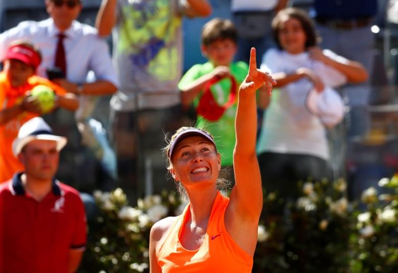 Tennis - WTA - Rome Open - Christina McHale of U.S. v Maria Sharapova of Russia - Rome, Italy- 15/5/17- Sharapova celebrates after winning the match. REUTERS/Tony Gentile