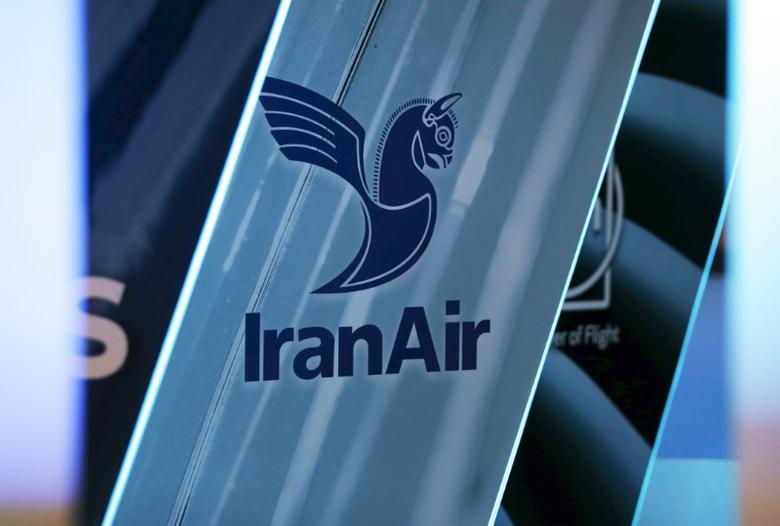 FILE PHOTO: The logo of IranAir is pictured as the company IranAir takes delivery of the first new Western jet under an international sanctions deal in Colomiers, near Toulouse, France, January 11, 2017.   REUTERS/Regis Duvignau