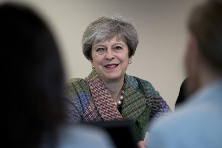 Britain's Prime Minister Theresa May speaks at a campaign event at Tech Pixies, a digital marketing company in Oxford, May 15, 2017. REUTERS/Justin Tallis/Pool
