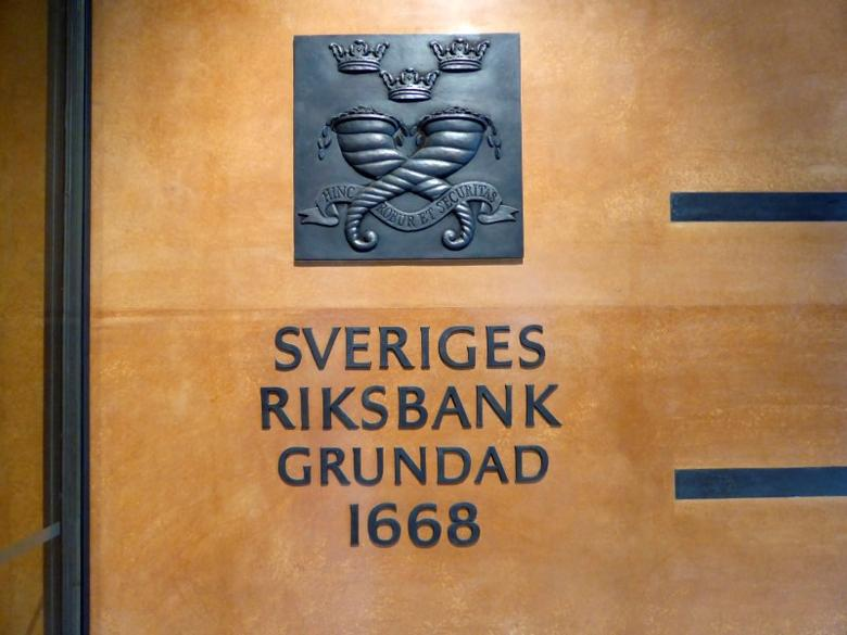 The sign for Sweden's central bank is pictured in Stockholm, Sweden, August 12, 2016. REUTERS/Violette Goarant