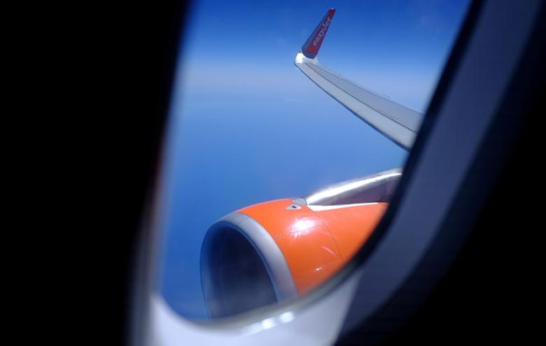 FILE PHOTO: General view of the wing on an EasyJet flight from Gibraltar airport in the British overseas territory of Gibraltar, historically claimed by Spain, April 22, 2017. REUTERS/Phil Noble/File Photo                       GLOBAL BUSINESS WEEK AHEAD - SEARCH GLOBAL BUSINESS 15 MAY FOR ALL IMAGES