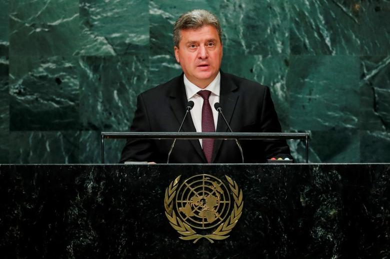 Macedonian President Gjorge Ivanov addresses the United Nations General Assembly in the Manhattan borough of New York, U.S., September 22, 2016.  REUTERS/Eduardo Munoz/Files