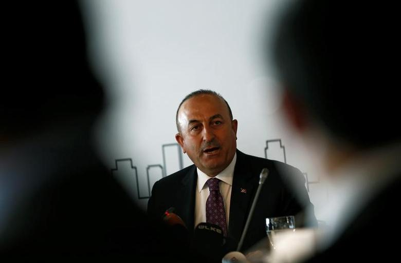 Turkish Foreign Minister Mevlut Cavusoglu speaks during a meeting with foreign diplomats in Istanbul, Turkey March 7, 2017. REUTERS/Murad Sezer/Files