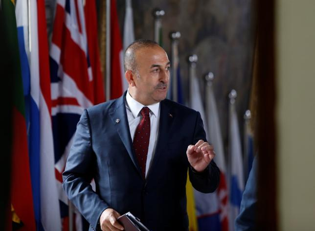 FILE PHOTO: Turkey's Foreign Minister Mevlut Cavusoglu arrives for a meeting with European Union Foreign Ministers in Valletta, Malta, April 28, 2017.  REUTERS/Darrin Zammit Lupi