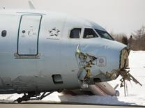 Air Canada flight 624 that crashed during a snowstorm, is seen at Halifax Stanfield International Airport in Enfield, Nova Scotia, in this file photo dated March 30, 2015. REUTERS/Andrew Vaughan/Pool