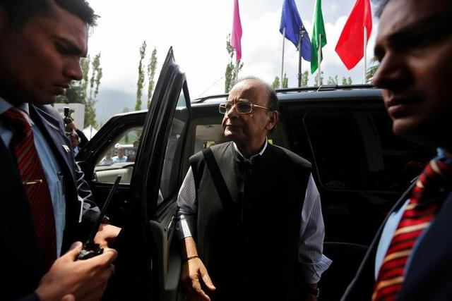 Finance and Defence Minister Arun Jaitley arrives to attend a two-day meeting of the Goods and Services Tax (GST) Council, comprising federal and state finance ministers, in Srinagar May 18, 2017. REUTERS/Danish Ismail