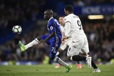 Chelsea's N'Golo Kante in action with Watford's Troy Deeney.  Reuters / Hannah McKay Livepic
