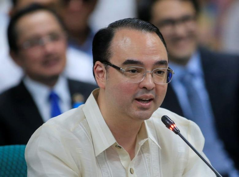 Philippines' newly appointed Foreign Minister Alan Peter Cayetano delivers a statement in Manila. REUTERS/Romeo Ranoco