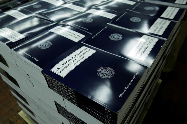 President Donald Trump's FY2018 budget is seen printed at the Government Publishing Office in Washington, U.S., May 19, 2017. REUTERS/Yuri Gripas