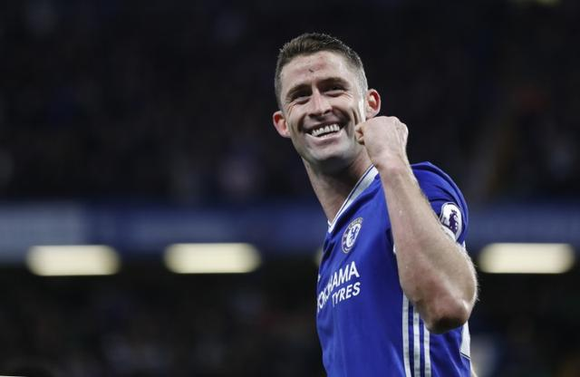 Britain Football Soccer - Chelsea v Southampton - Premier League - Stamford Bridge - 25/4/17 Chelsea's Gary Cahill celebrates scoring their second goal  Reuters / Stefan Wermuth Livepic