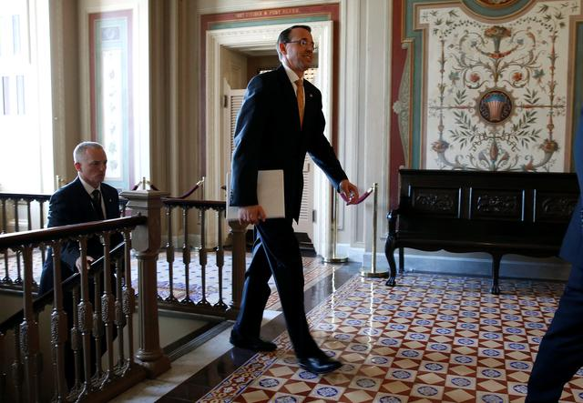 Deputy Attorney General Rod Rosenstein leaves after a closed briefing for members of the House of Representatives to discuss the firing of former FBI Director James Comey on Capitol Hill in Washington, U.S., May 19, 2017. REUTERS/Joshua Roberts