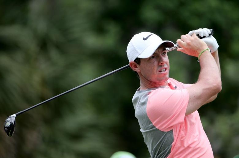 May 14, 2017; Ponte Vedra Beach, FL, USA;    Rory McIlroy tees off on the 2nd hole during the final round of The Players Championship golf tournament at TPC Sawgrass - Stadium Course. Mandatory Credit: Peter Casey-USA TODAY Sports