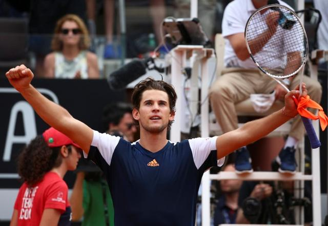 Tennis - ATP - Rome Open - Dominic Thiem of Austria v Rafael Nadal of Spain - Rome, Italy - 19/5/17 - Thiem celebrates after winning the match. REUTERS/Alessandro Bianchi