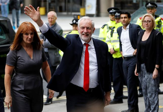 Jeremy Corbyn, leader of Britain's opposition Labour Party, arrives at the Labour Party's Headquarters in London, Britain June 9, 2017. REUTERS/Darren Staples