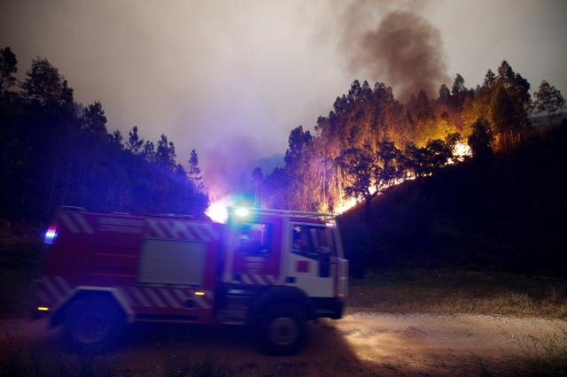 Firefighters work to put out a forest fire near Bouca, in central Portugal, June 18, 2017.  REUTERS/Rafael Marchante