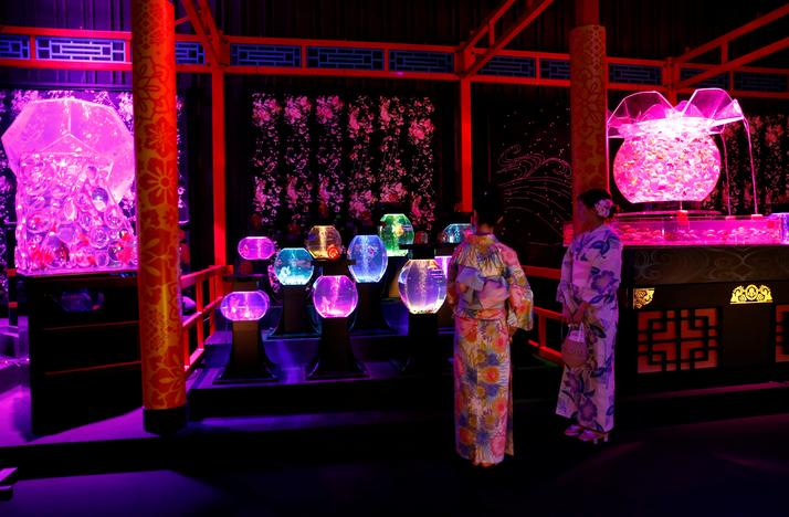 Women wearing traditional costumes take a look at installations using fish in illuminated tanks at the Art Aquarium exhibition in Tokyo, Japan July 6, 2017. Kim Kyung-Hoon