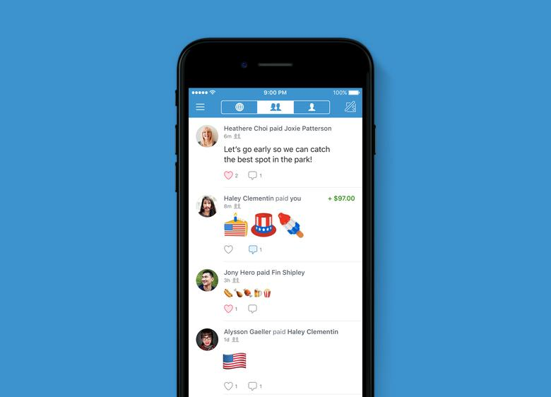 An undated handout image of the Venmo app home screen, showing July 4th-themed emojis. Venmo/Handout