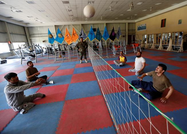 Wounded members of Afghanistan's National Army (ANA) practice for Invictus Games competition, at the Kabul Military Training Centre (KMTC) in Kabul, Afghanistan July 4, 2017. Mohammad Ismail