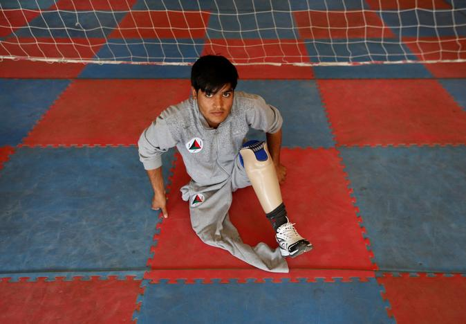Mohammad Esa 24, from Afghanistan's National Army (ANA) sits during practice for the Invictus Games competition, at the Kabul Military Training Centre (KMTC) in Kabul, Afghanistan July 4, 2017. Mohammad Ismail
