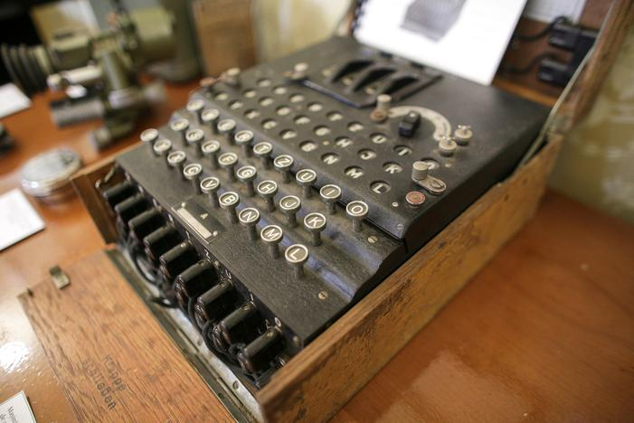 An Enigma cipher machine is on display at an auction house in Bucharest, Romania, July 11, 2017. Inquam Photos/Octav Ganea/