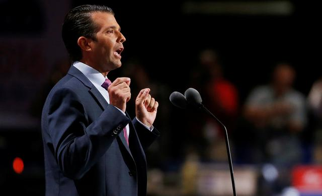 FILE PHOTO: Donald Trump Jr. speaks at the 2016 Republican National Convention in Cleveland, Ohio U.S. July 19, 2016.  REUTERS/Mario Anzuoni/File photo
