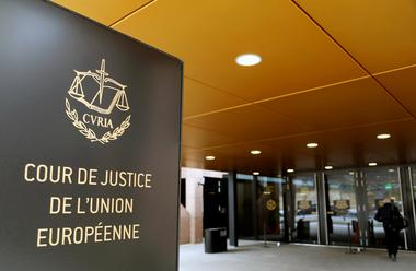 FILE PHOTO: The entrance of the European Court of Justice is pictured in...