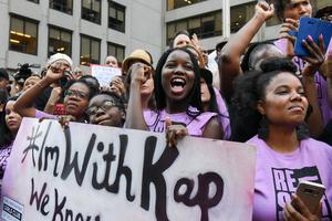 Kaepernick fans protest outside NFL headquarters