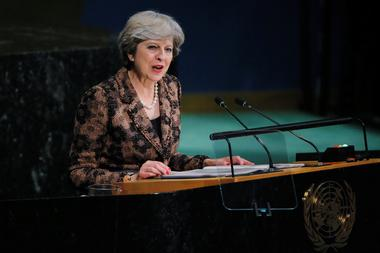 FILE PHOTO - British Prime Minister Theresa May addresses the 72nd United...