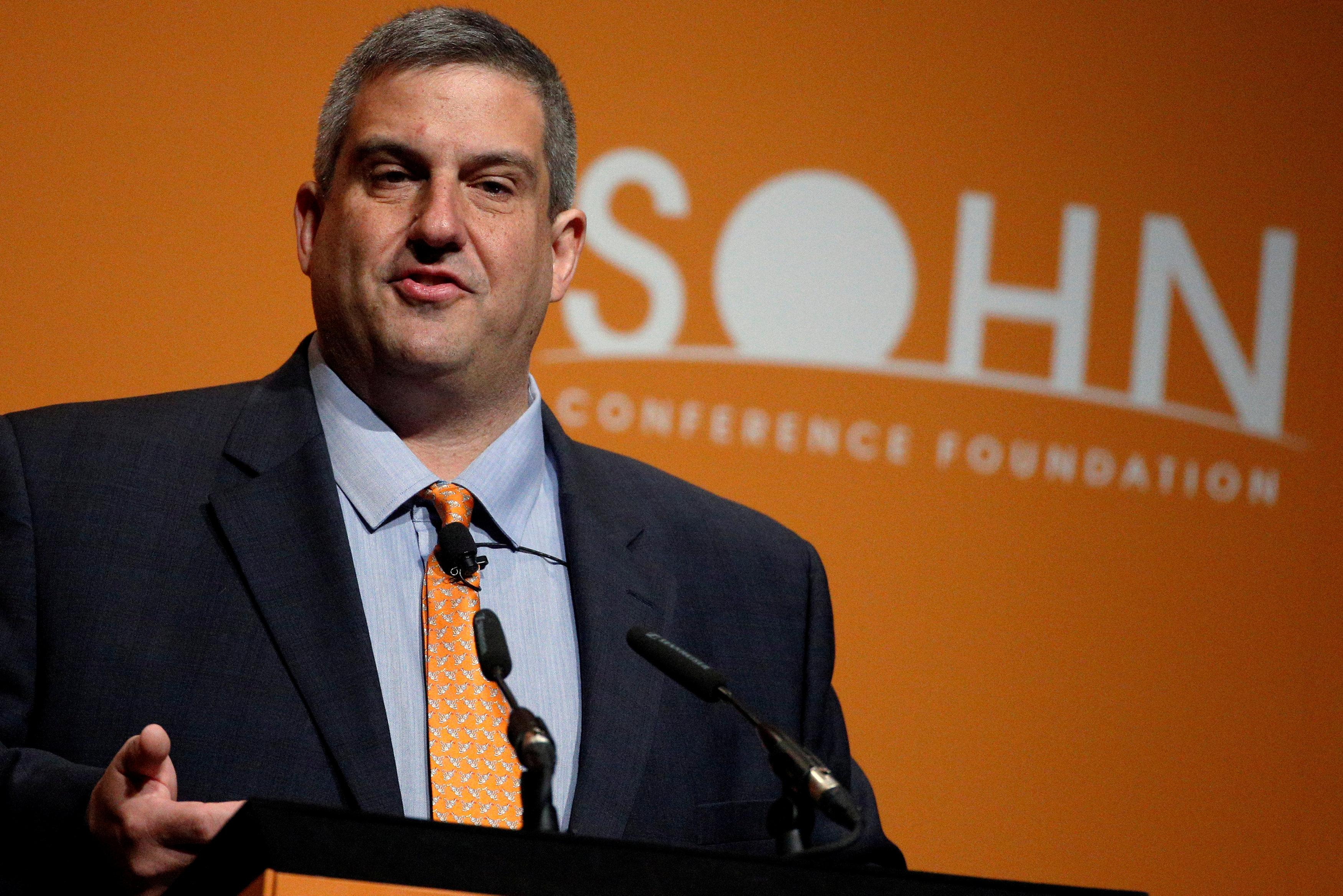 Larry Robbins, Founder, Portfolio Manager and CEO, Glenview Capital Management LLC., speaks at the Sohn Investment Conference in New York City, U.S. on May 4, 2016.  Brendan McDermid