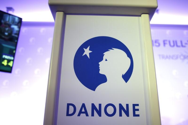 The logo of French food group Danone is seen during a news conference to present the company