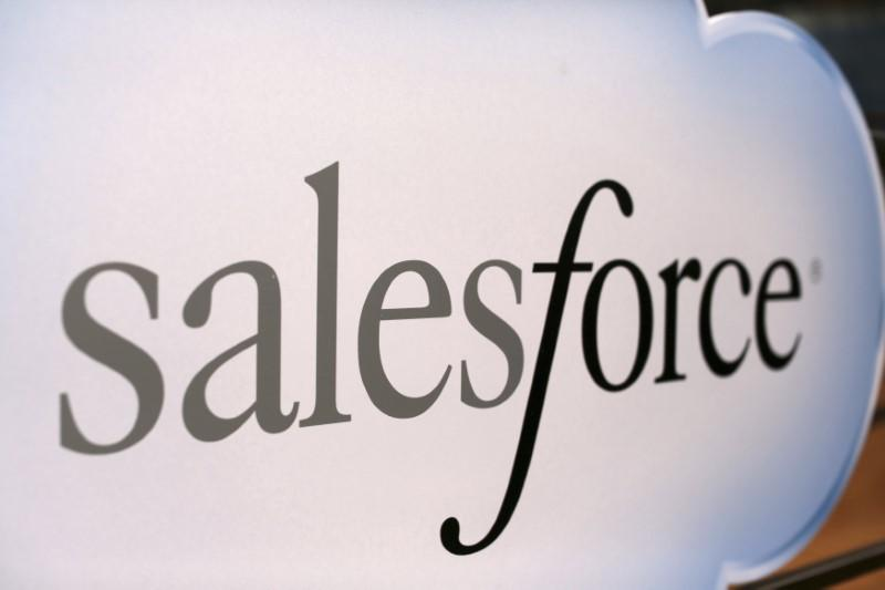 A Salesforce sign is seen during the company's annual Dreamforce event, in San Francisco, California November 18, 2013. Robert Galbraith