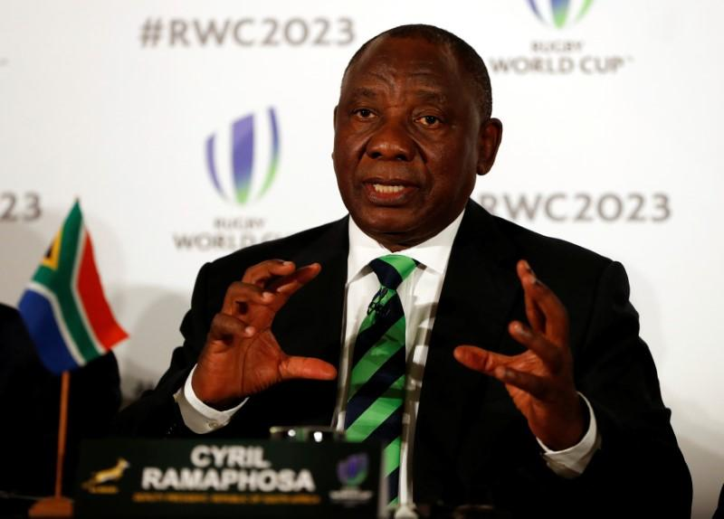 Rugby Union - Rugby World Cup 2023 host country candidates press conference - Royal Garden Hotel, London, Britain - September 25, 2017   Cyril Ramaphosa, Deputy President of South Africa during the press conference   Action Images via Reuters/Paul Childs