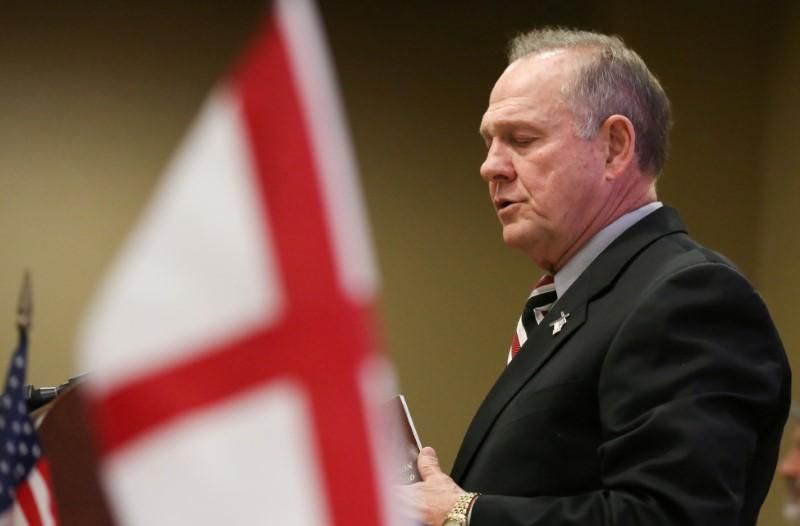 Judge Roy Moore participates in the Mid-Alabama Republican Club's Veterans Day Program in Vestavia Hills, Alabama, U.S. November 11, 2017.  Marvin Gentry