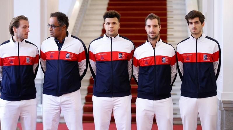 Tennis - Davis Cup Final Preview - France vs Belgium - Lille, France - November 23, 2017   France captian Yannick Noah with Lucas Pouille, Jo-Wilfried Tsonga, Richard Gasquet and Pierre-Hugues Herbert ahead of the final   Pascal Rossignol