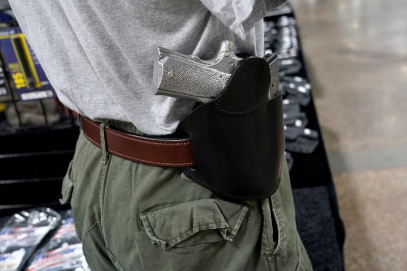 A concealed carry holster is displayed for sale at the Guntoberfest gun show in Oaks, Pennsylvania, U.S., October 6, 2017.   Joshua Roberts