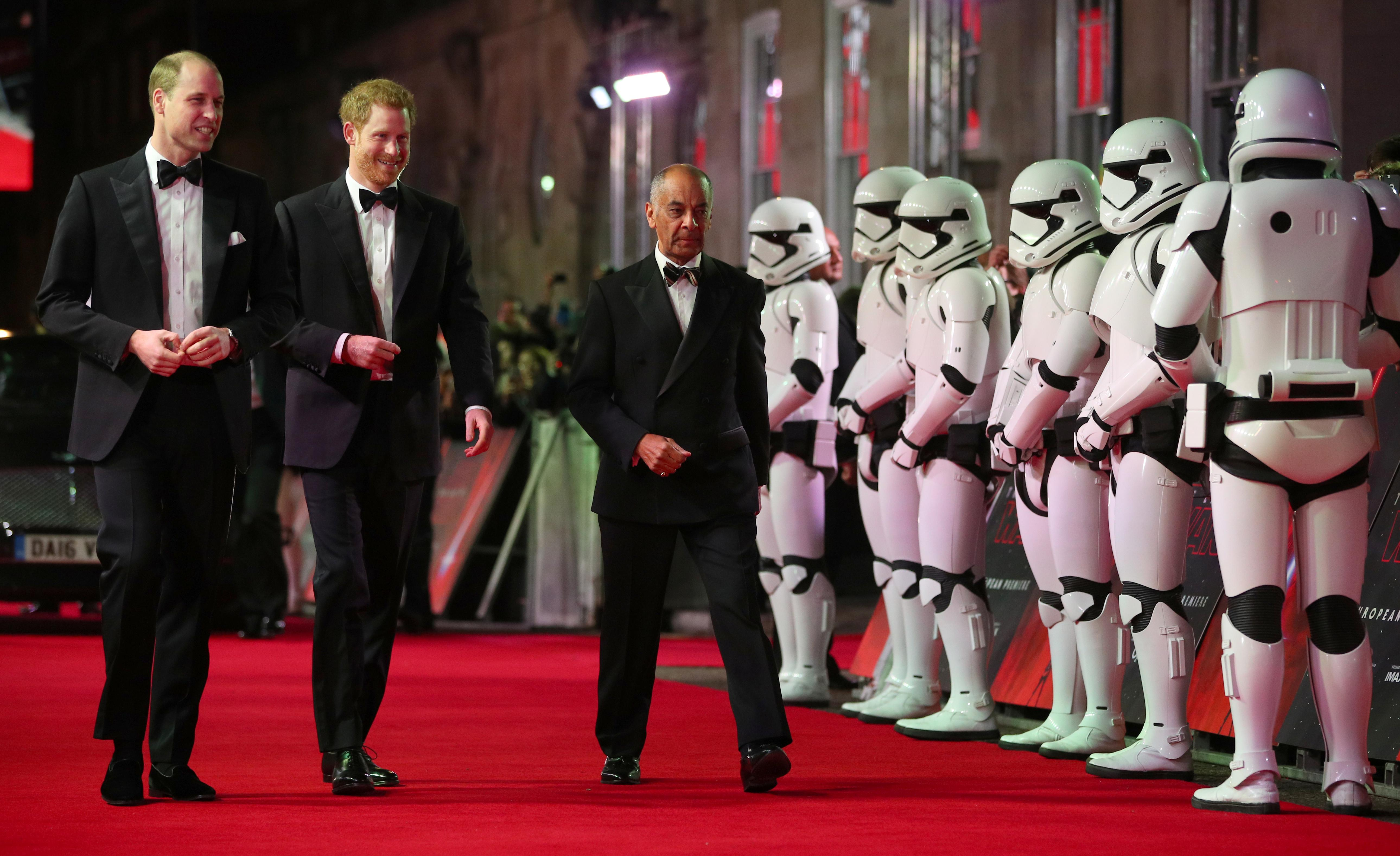 Britain's Prince William and Prince Harry, arrive for the European Premiere of 'Star Wars: The Last Jedi', at the Royal Albert Hall in central London, Britain December 12, 2017. Hannah McKay