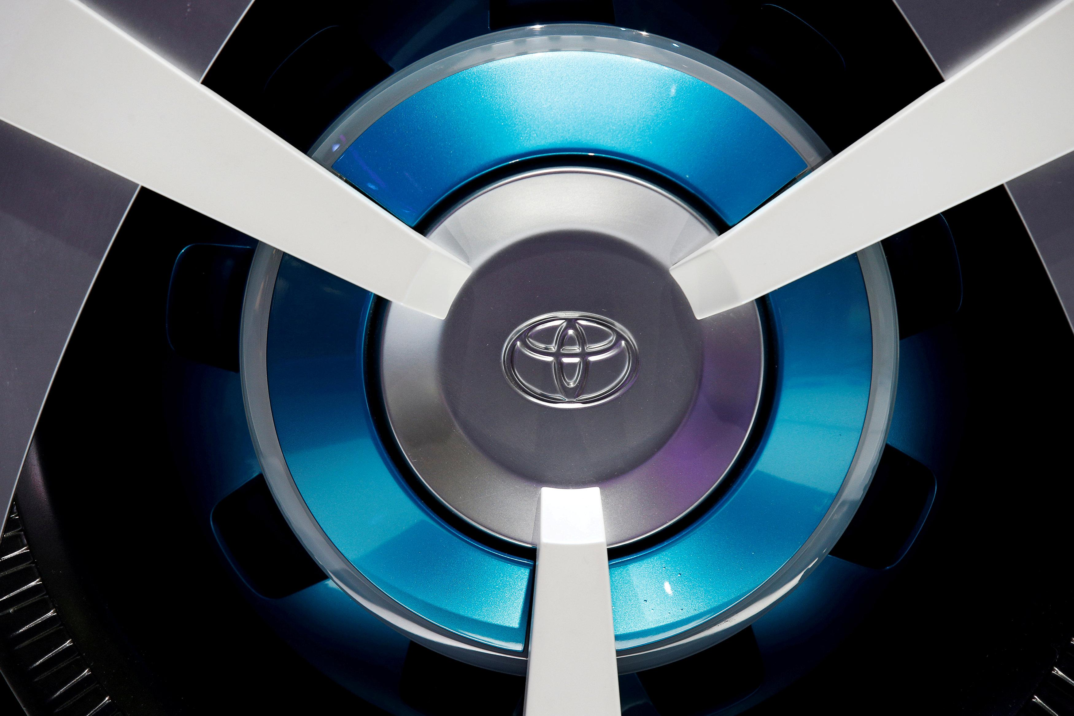 View of a Toyota logo on a wheel at the Mondial de l'Automobile, Paris auto show, during media day in Paris, France, September 30, 2016. Jacky Naegelen