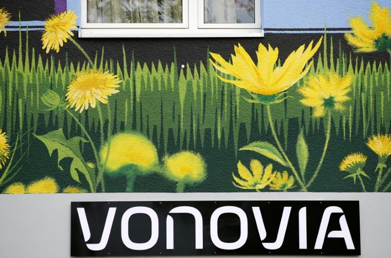 The logo of German real estate company Vonovia SE, a member of the German DAX-30 stock market index, is seen at a Vonovia building in Essen, western Germany May 10, 2016.    Wolfgang Rattay