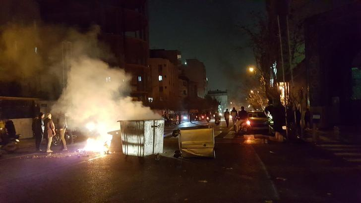 Protesters gather on the streets of Tehran, Iran December 30, 2017, in this picture obtained from social media. .