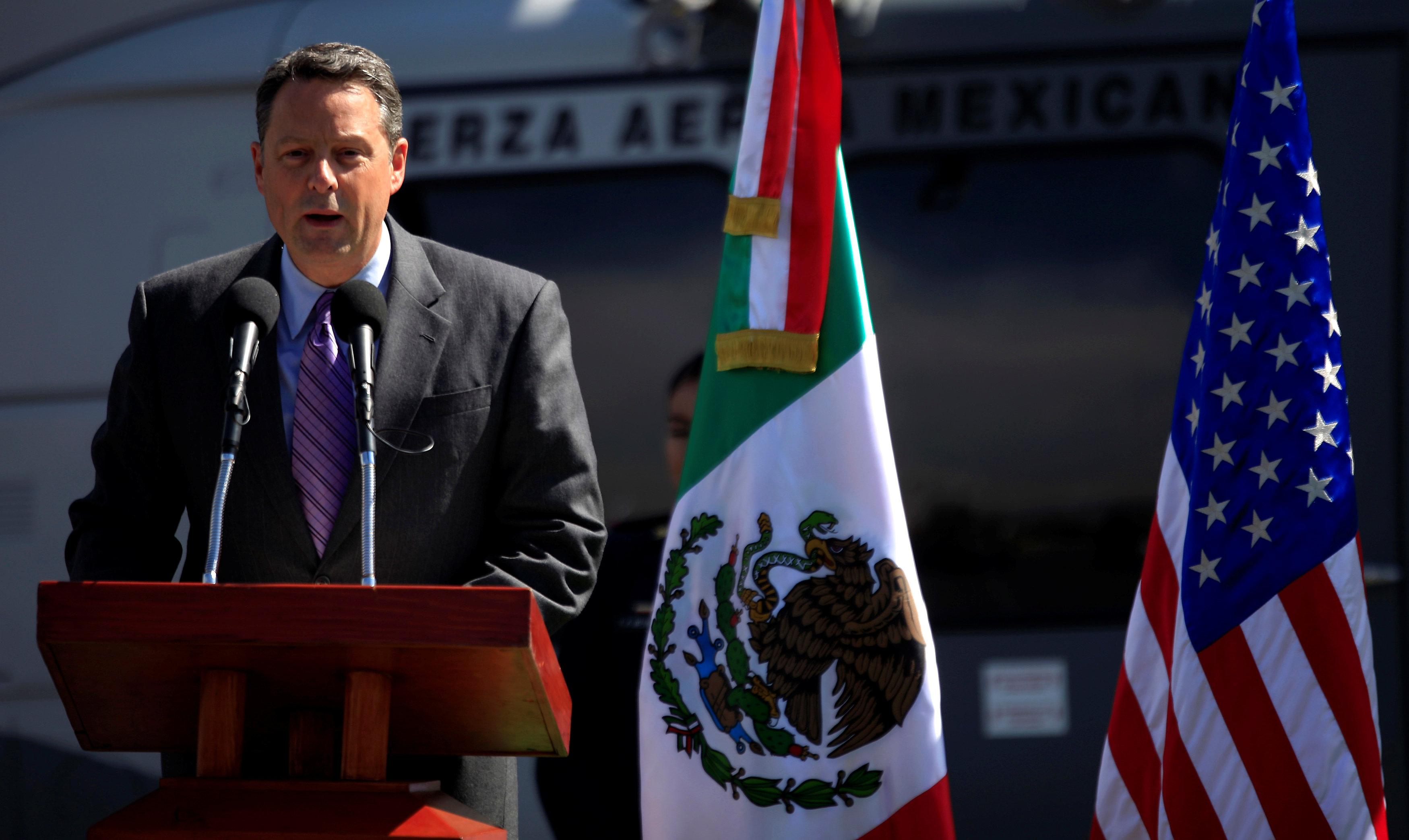 U.S. Deputy Chief of Mission John Feeley in Mexico speaks during a ceremony at a hangar of the Secretariat of National Defense in Mexico City, Mexico November 8, 2010.  Eliana Aponte