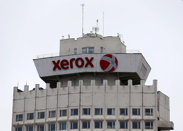 The logo of Xerox company is seen on a building in Minsk, Belarus, March 21, 2016.  Vasily Fedosenko