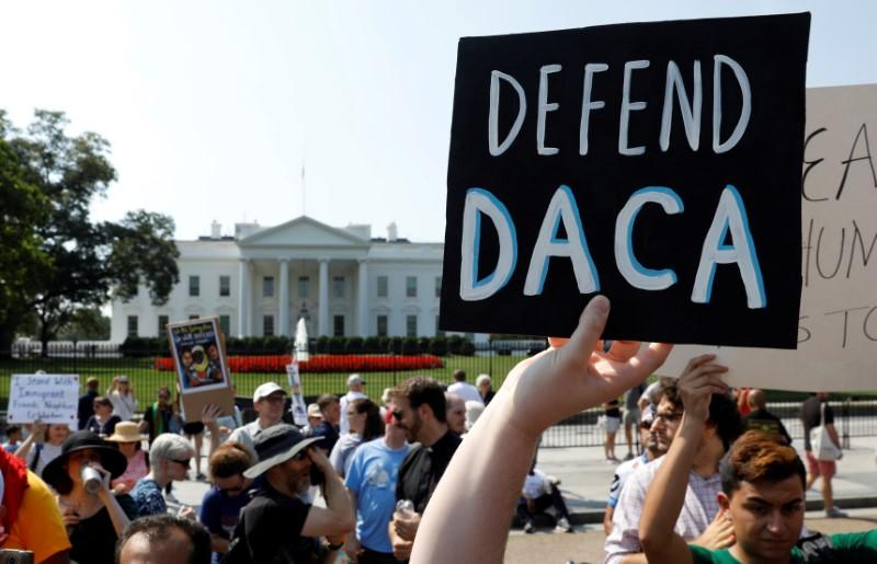 Demonstrators protest in front of the White House after the Trump administration today scrapped the Deferred Action for Childhood Arrivals (DACA), a program that protects from deportation almost 800,000 young men and women who were brought into the U.S. illegally as children, in Washington, U.S., September 5, 2017. Kevin Lamarque