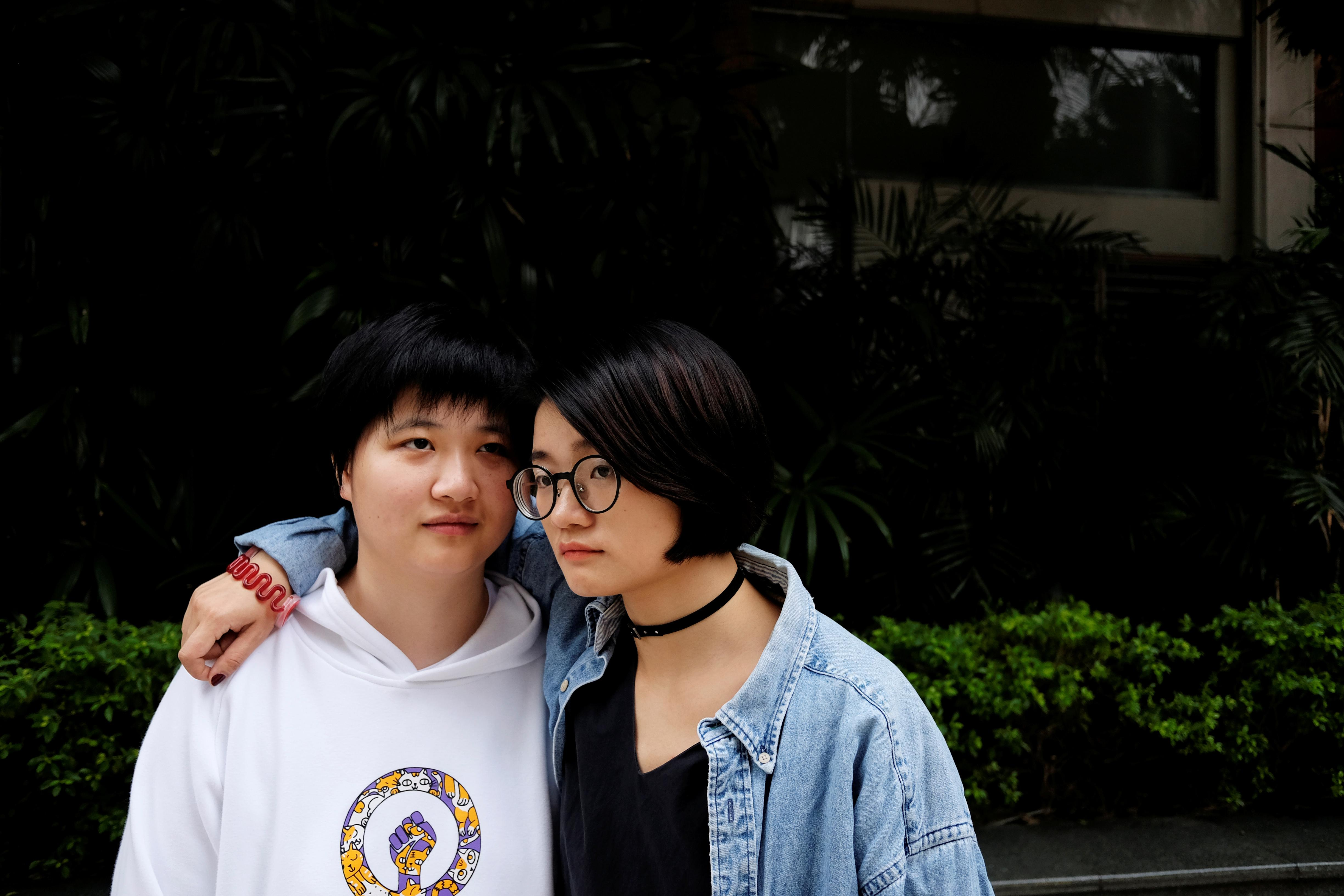 Zhang Leilei (L), 25 and Xiao Meili, 28, Chinese women's rights activists, have called on Chinese universities to prevent sexual harassment. Guangzhou, Jan. 25, 2018. Staff