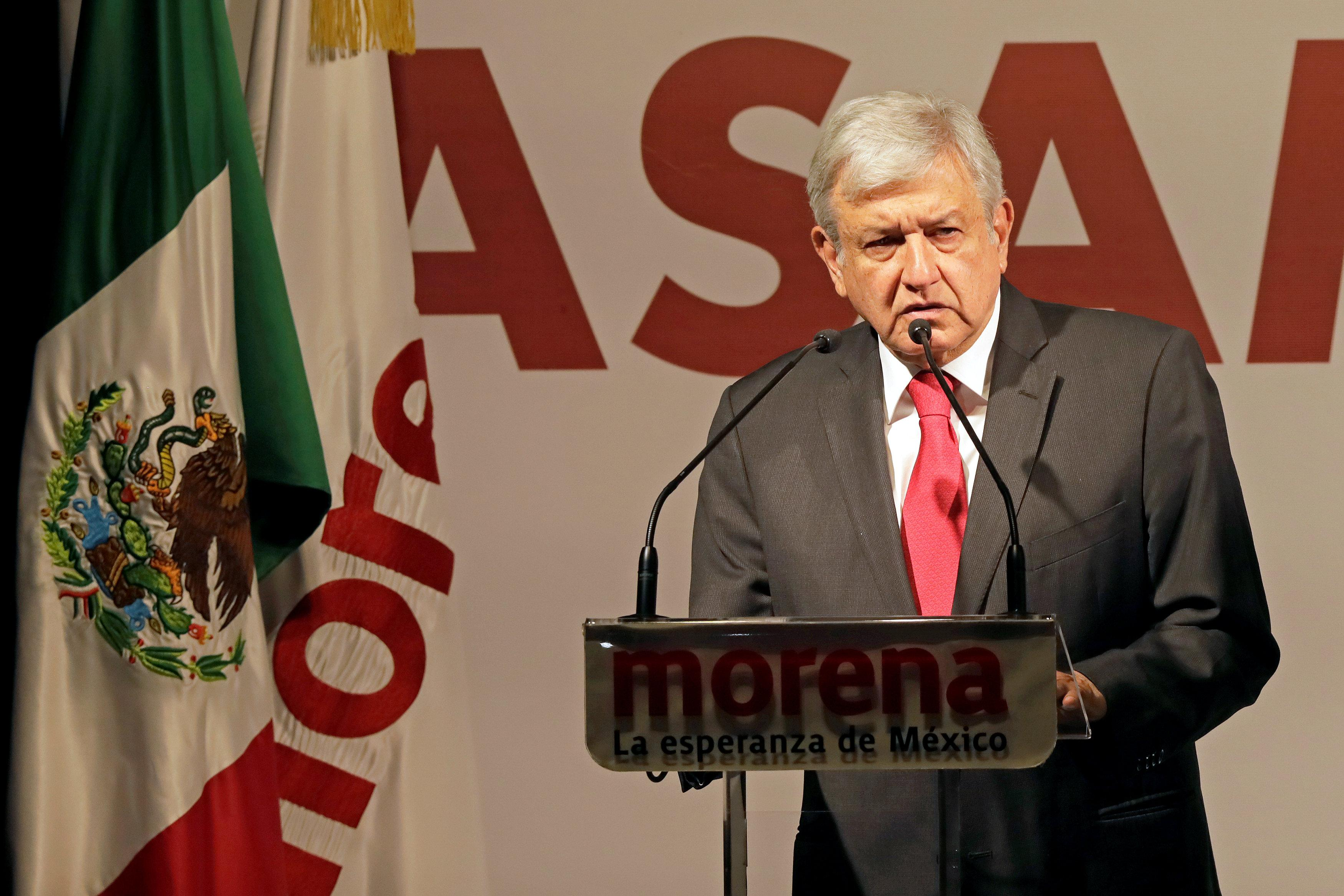 Andres Manuel Lopez Obrador delivers a speech after being sworn-in as presidential candidate of the National Regeneration Movement (MORENA) during the party's convention at a hotel in Mexico City, Mexico February 18, 2018. Henry Romero